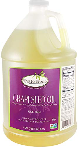 Tutto Bene Premium Quality Grapeseed Oil - 1 Gallon (128 ounces), for Cooking With 0% Trans Fat for Healthy Living - Cholesterol Free - High in Antioxidants and Vitamin E