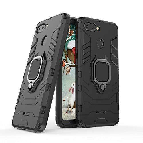 COOVY® Cover für Xiaomi Redmi 6 Bumper Case, Plastik + TPU-Silikon, extra stark, Anti-Shock, Stand Funktion + Magnethalter | schwarz