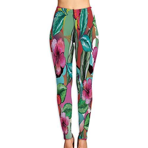 Benle Pantalones de Yoga para Mujer,Hermosa Bufanda de Flores con Efecto de Agua,Pantalones de Entrenamiento de Cintura Alta Medias elásticas de Yoga Impresas XL