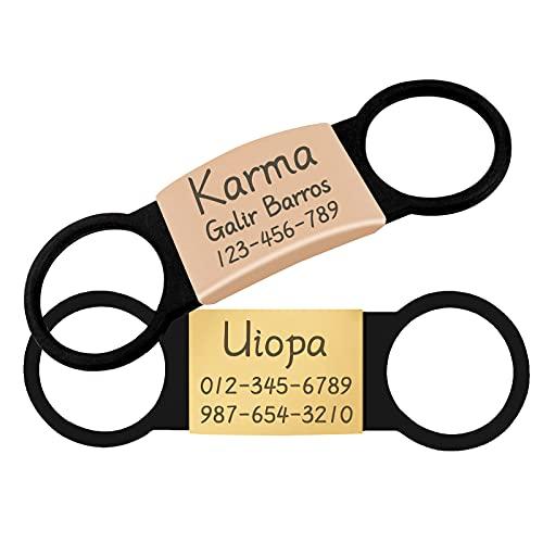 Uiopa 2pcs Medaglietta Cane Personalizzata, Acciaio Inox Targhetta Cane/Medaglietta Gatto con Incisione, Etichette Targhetta D'Identificazione per Collare Cani Gatto Animali (Oro & Oro rosa, L)