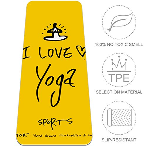 AIBILI I Love Yoga - Esterilla de Yoga Plegable (6 mm de Grosor, Antideslizante), Color Amarillo, Color I Love Yoga Amarillo, tamaño 32x72 in-80x183 cm