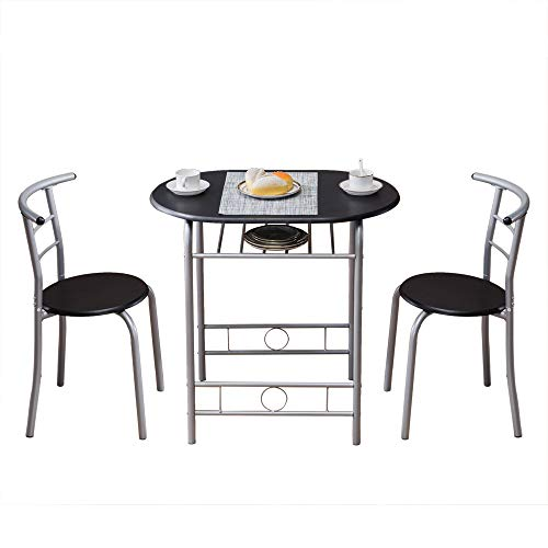 Teeker 3 Piece Dining Set Compact 2 Chairs and Table Set,PVC Breakfast Table with Metal Frame and Shelf Storage Bistro Pub Breakfast Space Saving for Apartment and Kitchen (Black)