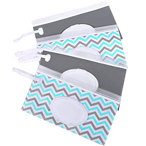 Venhoo Wet Wipe Pouch 4-Pack Reusable Refillable Clutch Baby Wipes Dispenser Holder Case-Keep Wet Wipes Moist- Eco Friendly Wipes Carrying Case for Travel-Pouch Carries 60 Wipes-Upgrade Version