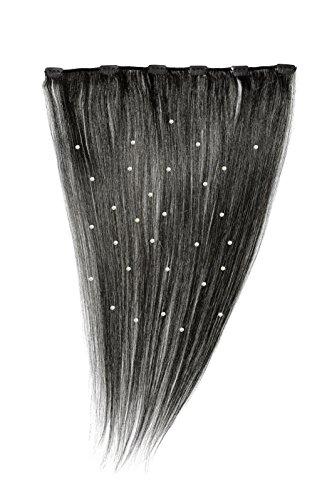 American Dream - A19/QFC12/18/1 - 100 % Cheveux Naturels - Pièce Unique Extensions Cristallisées à Clipper - Couleur 1 - Noir de Jais - 46 cm