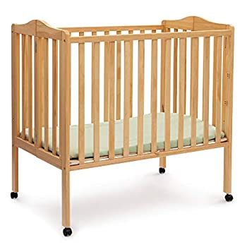 Delta Children Folding Portable Mini Baby Crib with 1.5-inch Mattress Natural