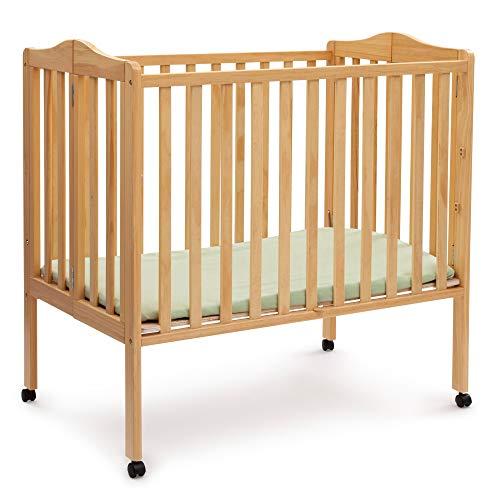 Delta Children Folding Portable Mini Baby Crib with 1.5-inch Mattress, Natural