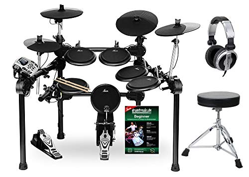 XDrum DD-520 PLUS SET 1 E-Drum Set (elektronisches Schlagzeug, mit Hocker, Kopfhörer, Sticks & Fußmaschine, 458 Sounds)