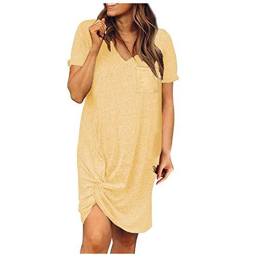 WYTong Vestido de verano con cuello en V y cuello en V de moda de color sólido con lazo de manga corta vestido de ocio, Suave, M, Amarillo
