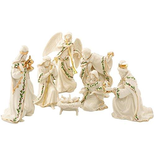 Lenox Holiday Miniature Nativity 7 Piece Figurine Set Holy Family 3 Kings Angel