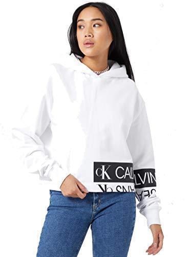 Calvin Klein Jeans Felpa con Cappuccio con Logo in Cotone Biologico (L)