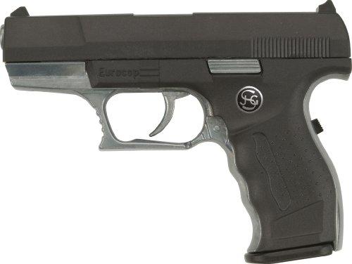 Schrödel J.G. Euro-Cop Pistole: Spielzeugpistole für Zündplättchen, ideal für das Polizeikostüm, 13 Schuss, auf Tester, 16.5 cm, schwarz (306 0961)