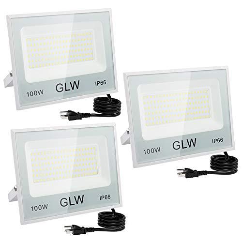 GLW 100W LED Flood Light Outdoor IP66 Waterproof Super Bright Security Lights,6000k 10000LM Work Light Daylight White Outdoor Spotlight for Yard,Garage,Garden,Playground [3 Pack]