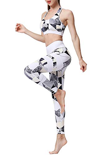 2PCS Outfit Set, Sports Bra Leggings Set, High Wrist Leggings Bra Workout Suits, Exercise Gym (Camouflage, Small)