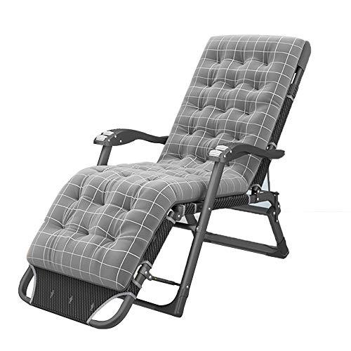 OUPAI Tumbonas Silla de gravedad cero, silla reclinada plegable y asiento de textileno con cojín de 180 ° cama silla de patio silla plegable sillón de césped con almohada reclinables al aire libre par