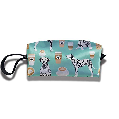 Dalmatians Cute Mint Coffee Best Dalmatian Dog Print Travel Cosmetics Ladies Pouch Handbag Handbag Cosmetic Bag Wallet Portable Makeup Storage Bag