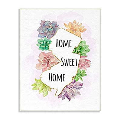 The Stupell Home Decor Collection New Jersey State Home Sweet Home Succulent
