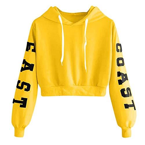YEBIRAL Damen Hoodie Mädchen Kapuzenpulli Briefdruck Bauchfrei Pullover Oberteile Kurz Sport Crop Tops Sweater Sweatshirt Sweatjacke (Gelb-b, S)
