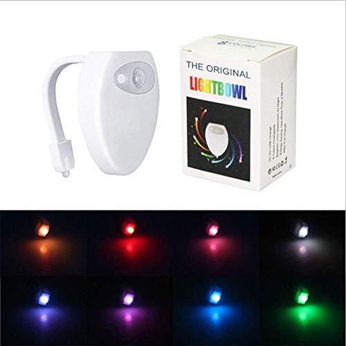 Bewegingsmelder led-toiletlamp, waterdicht nachtlampje voor de badkamer, gemakkelijk te reinigen, 8-kleurig wisselend waterdicht toiletlicht (alleen in het donker activerbaar)