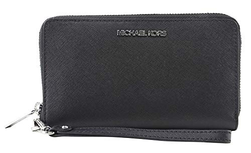 Michael Kors Jet Set Zip Around Phone Holder Wallet Wristlet (Black)