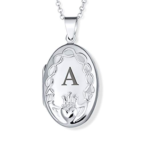 Personalized Irish Religious Oval BFF Celtic Holding Hands Claddagh Locket Women Teens Necklace Photo Holder Keep Sake Pictures Frame.925 Sterling Silver Custom Engraved