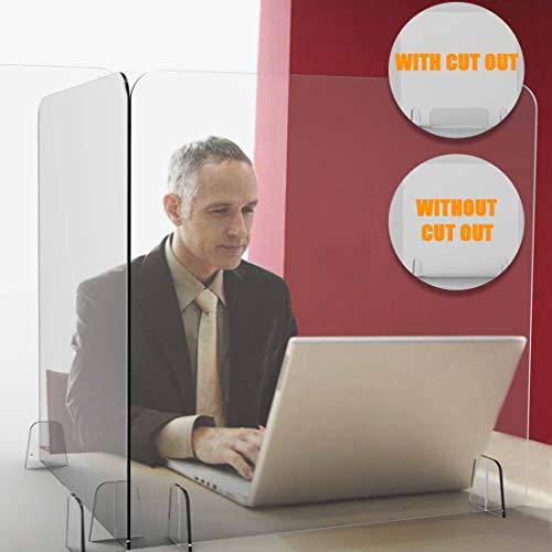 iPihsius Plexiglass Shield for Desk, Sneeze Guard 24''W 32''H Transparent Plastic Shield for Counter Desk