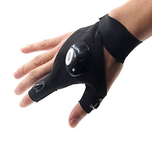 Taschenlampe Handschuh LED-Licht,Nachtbeleuchtung Arbeitshandschuhe Außenbeleuchtung Angeln Handschuhe (Rechts)