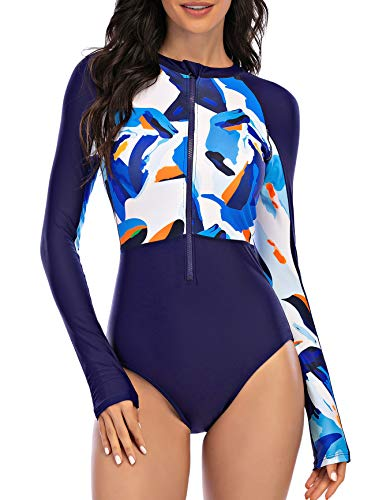 Womens Athletic One Piece Swimsuits Long Sleeve Swimsuit Sports Surfing Swimwear Bathing Suits Blue...