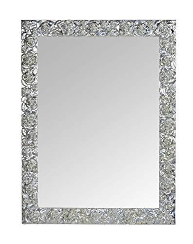 MO.WA Specchio da Parete con Cornice Legno Foglia Argento Fatto a Mano. Made in Italy. Misura Esterna cm. 62x82 da Appendere Verticale/Orizzontale