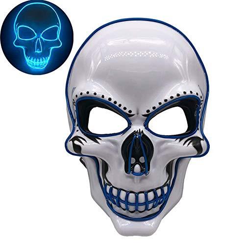CXSMKP Halloween LED Maske Aufleuchten Gruselige Maske, Festival Cosplay Kostümmasken Mit 4 Modi...