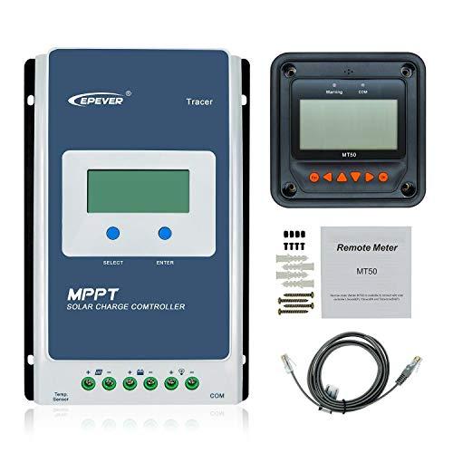 EPever MPPT Solarladeregler 20A Tracer2210AN + MT50 Entfernungsmesser + Temperatursensor 12 V / 24 V Auto Solar Panel Batterieregler (Tracer2210AN + MT50 + RTS)