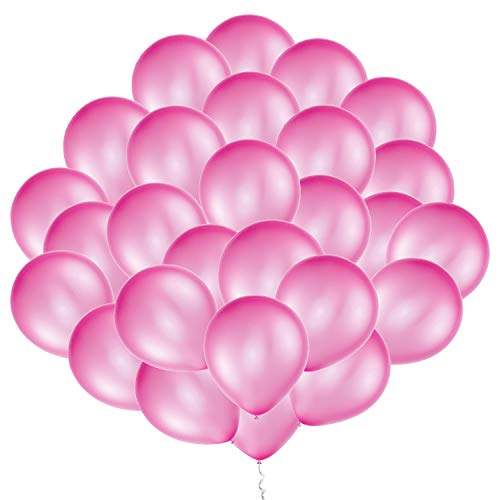 Eshanmu 100 pcs 12 inch Pink Pearl Latex Balloon For Boy Girl Party For Activity Campaign (Pink)