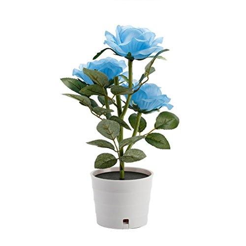LEDMOMO Solar Flower Pot LED de luz Rose Flower Table Lamp 3 luces de flores LED Flexible Flor lámpara de escritorio para el hogar Jardín Decoración de la habitación (azul)