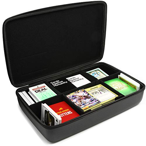 Surdarx Large 2300 Playing Cards Case Portable Organizer Travel Game Cards Case for Pokemon UNO C A H Main Card Game Phase 10 Dominion Munchkins Joking Hazard Black