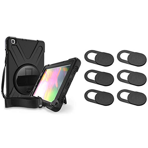 ProCase Galaxy Tab A 8.0 2019 Rugged Case T290 T295 Bundle with [6 Pack] Ultra Thin Slide Camera Blocker Privacy Security Cover for MacBook Air Pro iMac iPad iPhone Echo PS4 Tablet PC Computer