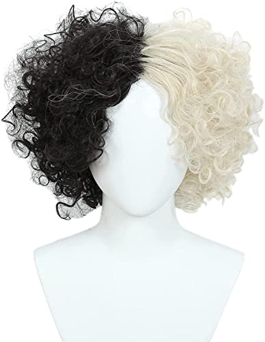 Peluca de Halloween del pelo de animado corto for las mujeres(medio rubio negro) chenghuax (Color : Curly one)