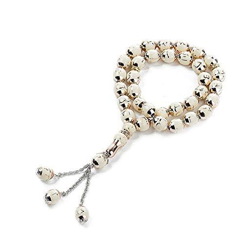 BaronHong 33-Prière Tasbih Perles Islamique Musulman 12mm Chapelet Pur Naturel Résine-Multicolore (beige, M)