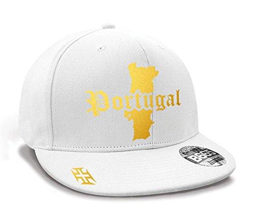 Casquette Hip Hop Portugal Mini Pays Blanc et Or Métallisé