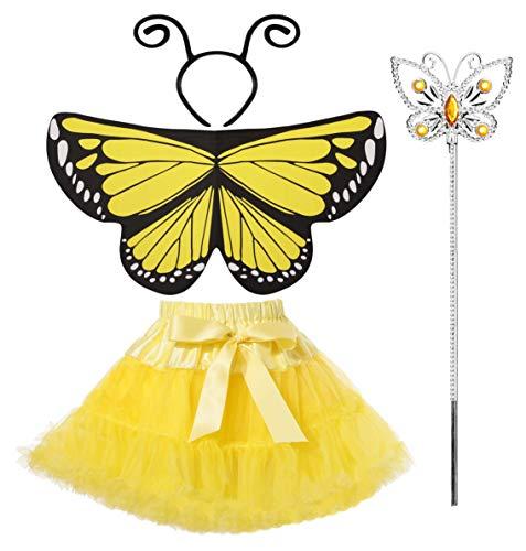Seawhisper Faschingskostüme Kinder Mädchen Kostüm Schmetterlingsflügel Schmetterling Tütü Rock Tüllrock Haarreif Prinzessin 98 104 116 122 128