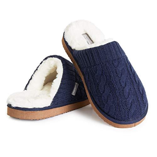 Dunlop Ciabatte Uomo, Pantofole Pelose E Calde da Casa Invernali, Idee Regalo Compleanno, Fluffy Slippers Memory Foam, Ciabatta Peluche Antiscivolo (Blu, Numeric_42)
