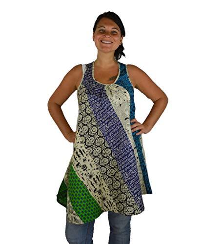 Induswelt dames top patchwork tuniek mouwloos katoen