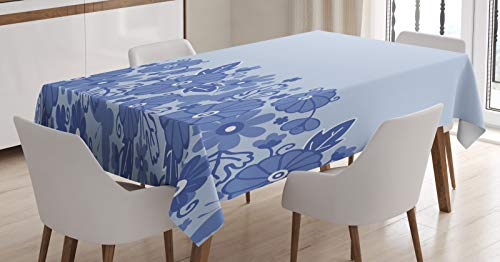 ABAKUHAUS Nederlands Tafelkleed, Delft stijl Bloemen Bladeren, Eetkamer Keuken Rechthoekige tafelkleed, 140 x 170 cm, Ceil Blauw en Pale Blue