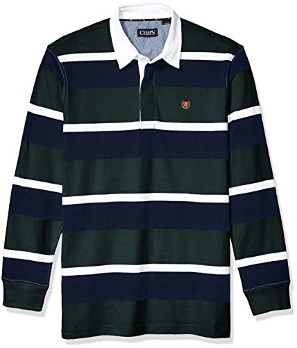 Chaps Men's Heritage Collection Rugby Shirt, Vintage Pine Multi, M