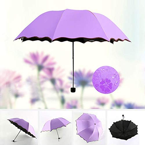 MAWA Wind Resistant Folding Umbrella Rain blooming Anti-UV Luxury Big Windproof Umbrellas Rain For Unisex Black Coating Parasol CD - Purple,a2