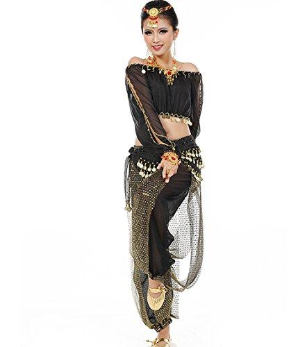 Astage Mujeres Danza del Vientre Disfraz Active Wear Top Pantalones Cinturón Sets Negro
