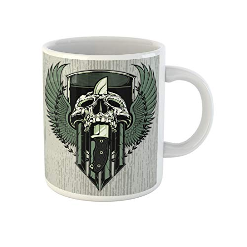 Awowee Coffee Mug Crest Skull Slain By Combat Knife Through It Head 11 Oz Ceramic Tea Cup Mugs Best Gift Or Souvenir For Family Friends Coworkers