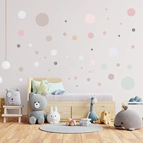 50 Pois adesivi per camerette | Sticker pois adesivi per parete cameretta in colori pastello assortiti | Adesivi ATTACCA e STACCA ideali per decorare le pareti