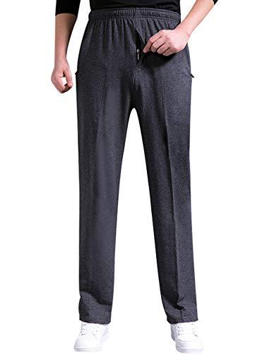 Youlee Hommes Taille Elastique Pantalon Droit Fermeture éclair Pantalon de Sport avec Poches zippées Deep Grey Thick M