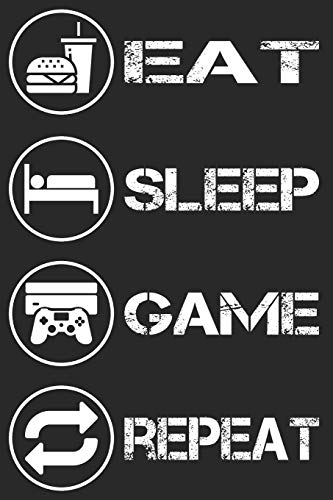 Gamer Gaming Notizbuch - Eat Sleep Game Repeat: DIN A5 Kariert 120 Seiten | Planer Tagebuch Notizheft Notizblock Journal To Do Liste | Zocker Zocken ... Weihnachten Adventskalender Geburtstag
