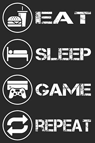 Gamer Gaming Notizbuch - Eat Sleep Game Repeat: DIN A5 Kariert 120 Seiten | Planer Tagebuch Notizheft Notizblock Journal To Do Liste | Zocker Zocken ... Weihnachten Adventskalender Geburtstag