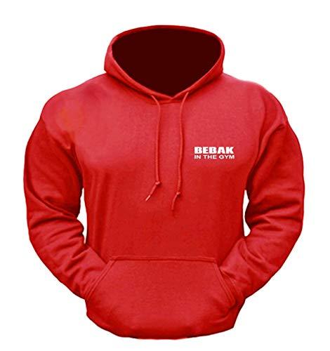 BEBAK Herren Gym Hoodie | Pullover Hoodie Kleidung für Männer Bodybuilding Top Arnold Schwarzenegger Inspired Sweatshirt T Shirt S M L XL 2XL 3XL 4XL 5XL Gr. XL, rot
